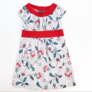Tea Girls Dress Red Floral Pockets Stretch Soft 3